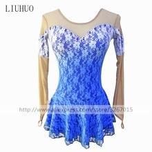 フィギュアスケートのドレス女性の女の子のアイススケートのドレス新しいブルーのレースのラウンドネック長袖フィギュアスケートの競争の服