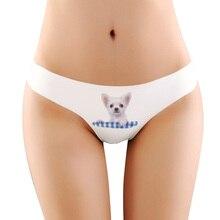Sexy Fashion 3d printing Cute Dog briefs women Seamless Underwear Women Ice Silk comfortble Lady Briefs Panties Intimates girls
