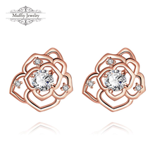 Plant/Flower Design Stud Earring,Cute Style Rose Gold Plated & Zirconia Jewelry Accessories For Women Girls,TIF KZCE024-B