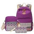 2016 New 3 Pcs Set Women Backpack Canvas Fashion National Floral Printing Backpacks For Teenage Girls School Bags Mochila BB30