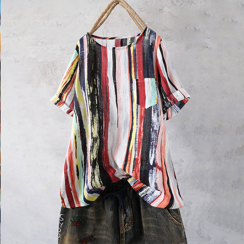 Plus Size Large Cotton India Folk Pockets Women Tunic 2019 Summer Half Sleeve O Neck Loose Paint Striped Rainbow Female Blouses in Blouses amp Shirts from Women 39 s Clothing