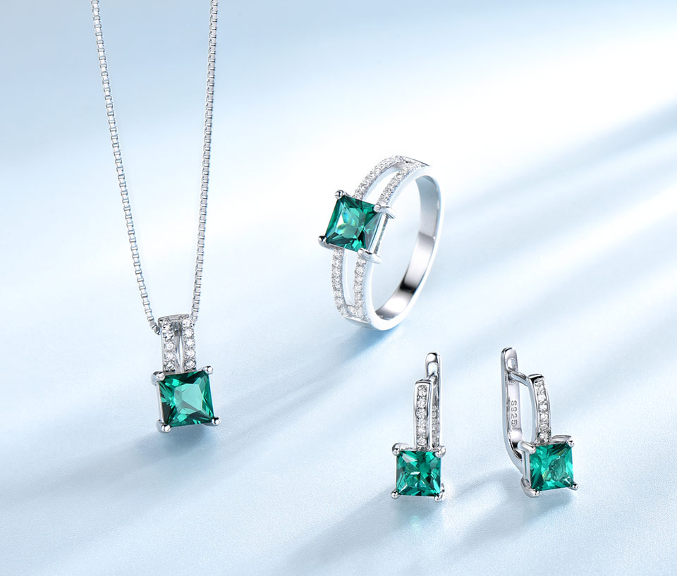 UMCHO-Emerald-silver-sterling-jewelry set-for-women-S005E-1 (4)