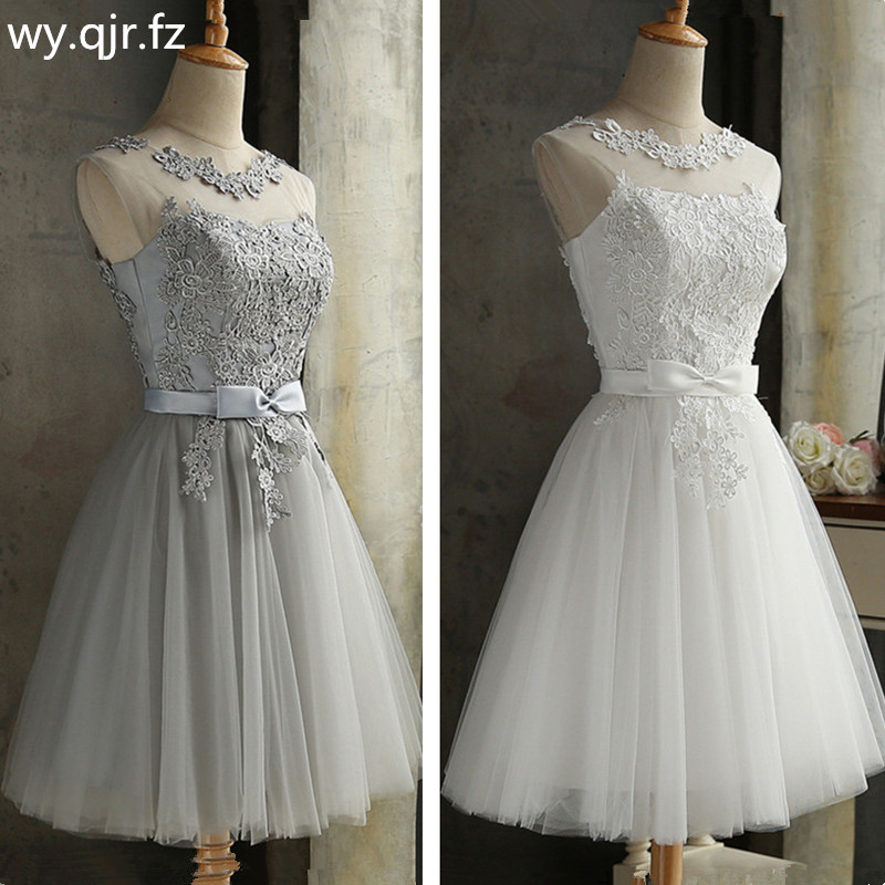 PTH-65#Lace Up Embroidery Grey Short Bridesmaid Dresses Wholesale Wedding Party Prom Dress Girl 2019 Spring New Champagne Red