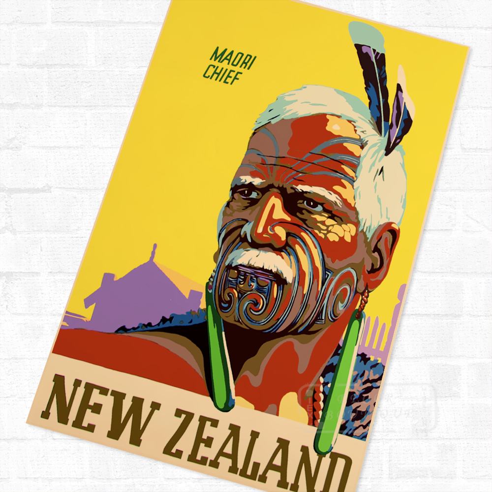 NZ New Zealand Maori Natives Travel Vintage Poster Retro Canvas ...