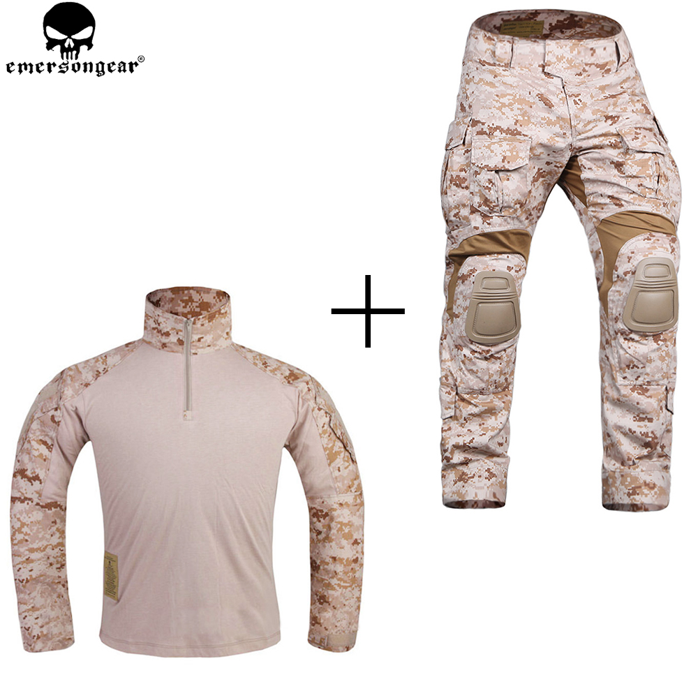 EMERSONGEAR New G3 Combat Uniform Hunting Military Army Multicam Shirt Tactical Pants with Knee Pads AOR1 Desert цена