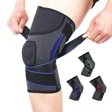 1PC Knee Support Compression Sleeve Elastic Knee Pads Brace Sports Protector with Adjustable bandage Silicone Pad Spring Suppot