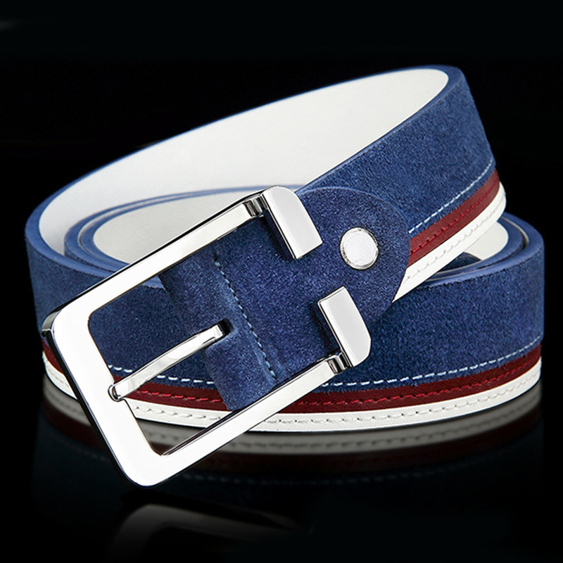 4 Colors Quality Brand Luxury Men faux Suede Leather Belts Metal Buckle design Jeans waist belt waistband elastic stretch strap
