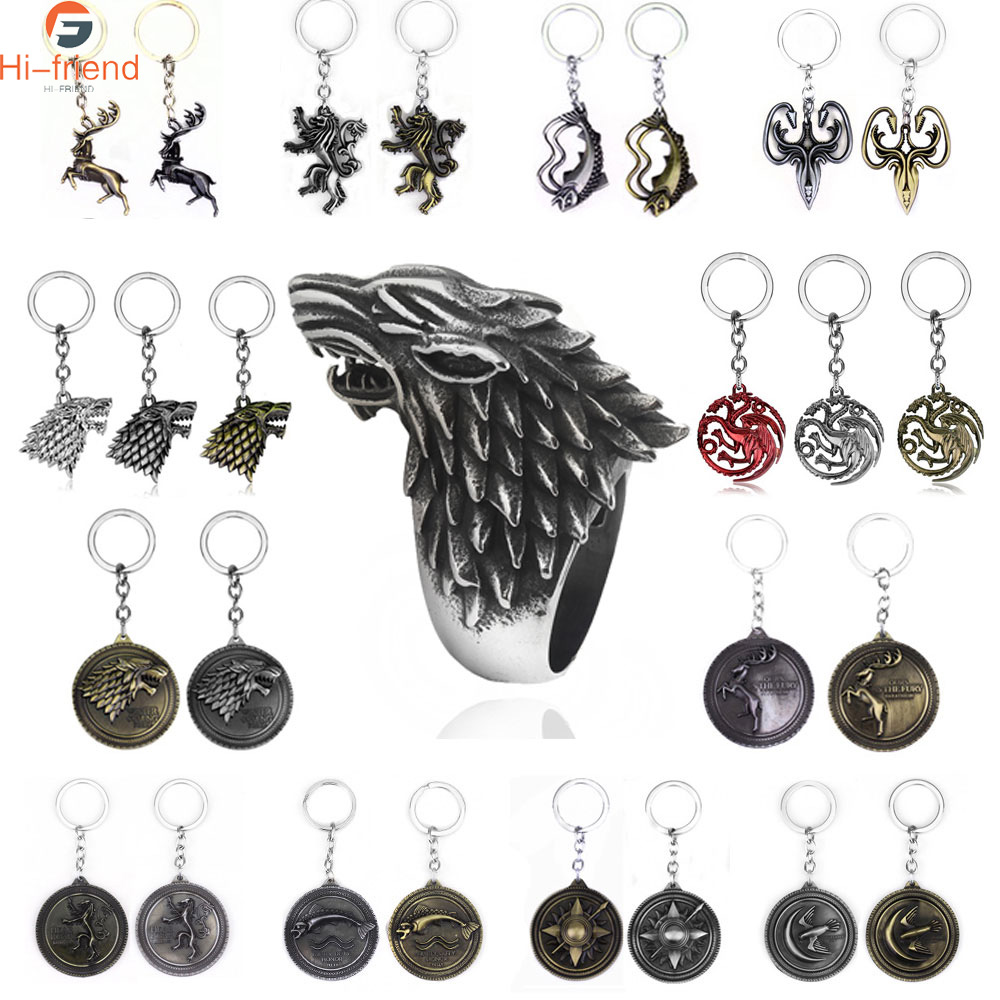 HOT Game of Thrones Keychain set House Stark Wolf Head series Key rings High quality Targaryen Dragon Alloy pendant men jewelry(China)
