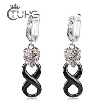 Fashion Infinity U Shape Stud Earrings With Lovely Bling Crystal Heart Good Quality Black Infinity Ceramic Earrings for Women