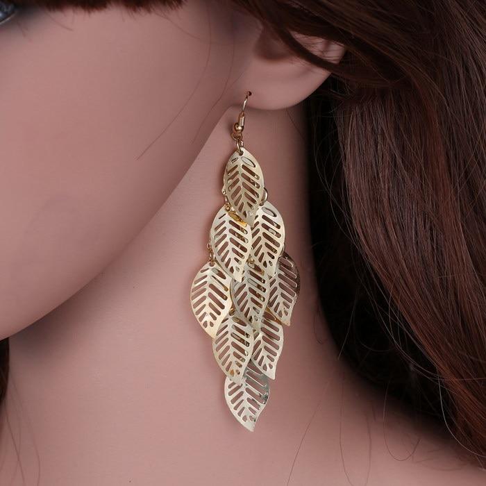 Leaf earrings jewelry gold leaf tassel earrings for Women Vintage Drop Earrings