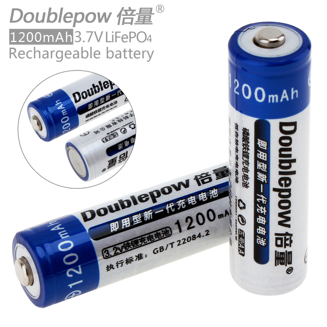 Doublepow 2pc 14500 AA 1200mAh 3.2V LiFePo4 Rechargeable Battery with 3A Charging Current for Cameras Toys Flashlights