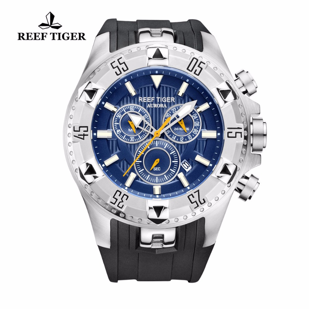 Reef Tiger/RT Casual Sport Watches Chronograph and Date Big Dial Super Luminous Steel Sport Watch for Men RGA303 new variable frequency drive vfd inverter 1 5kw 2hp 220v 7a 1 5kw inverter with potentiometer knob 220v ac