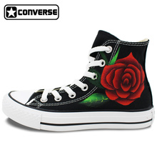 Women Men Sneakers Red Roses Converse All Star Original Design Hand Painted Shoes Custom Unique Gifts for Boyfriend Girlfriend