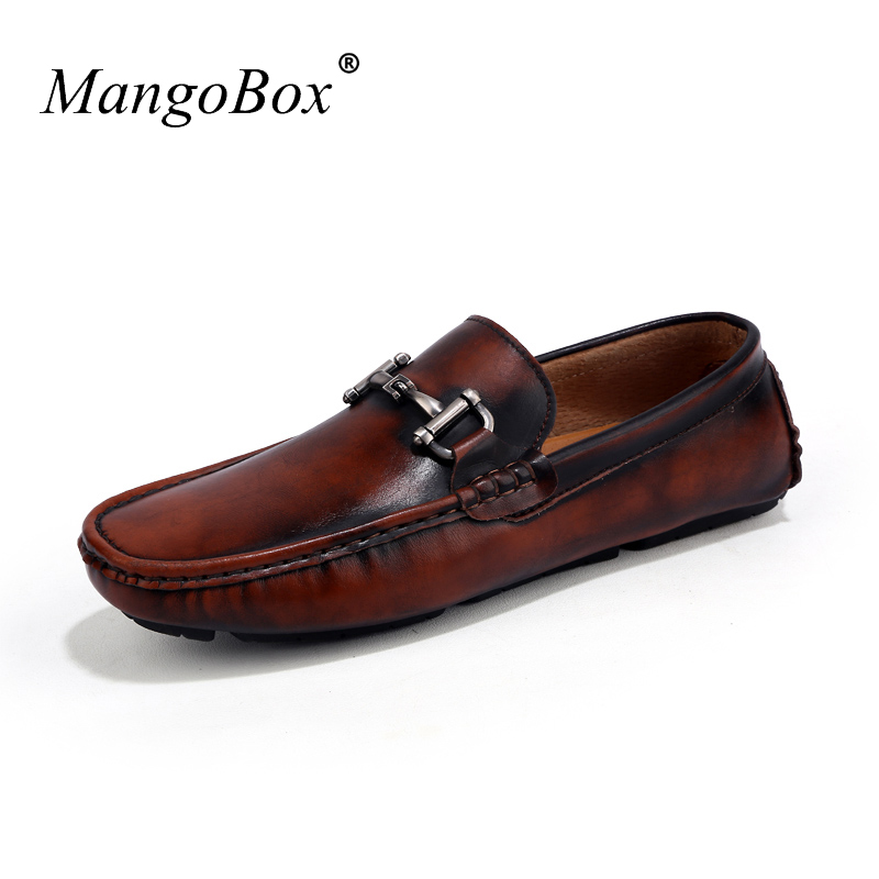 Handmade Metal Fashion Gold Tassel of Loafers Brown Artificial Leather Shoes Male Anti-Slip Mens Driving Shoes Men Flats Shoes