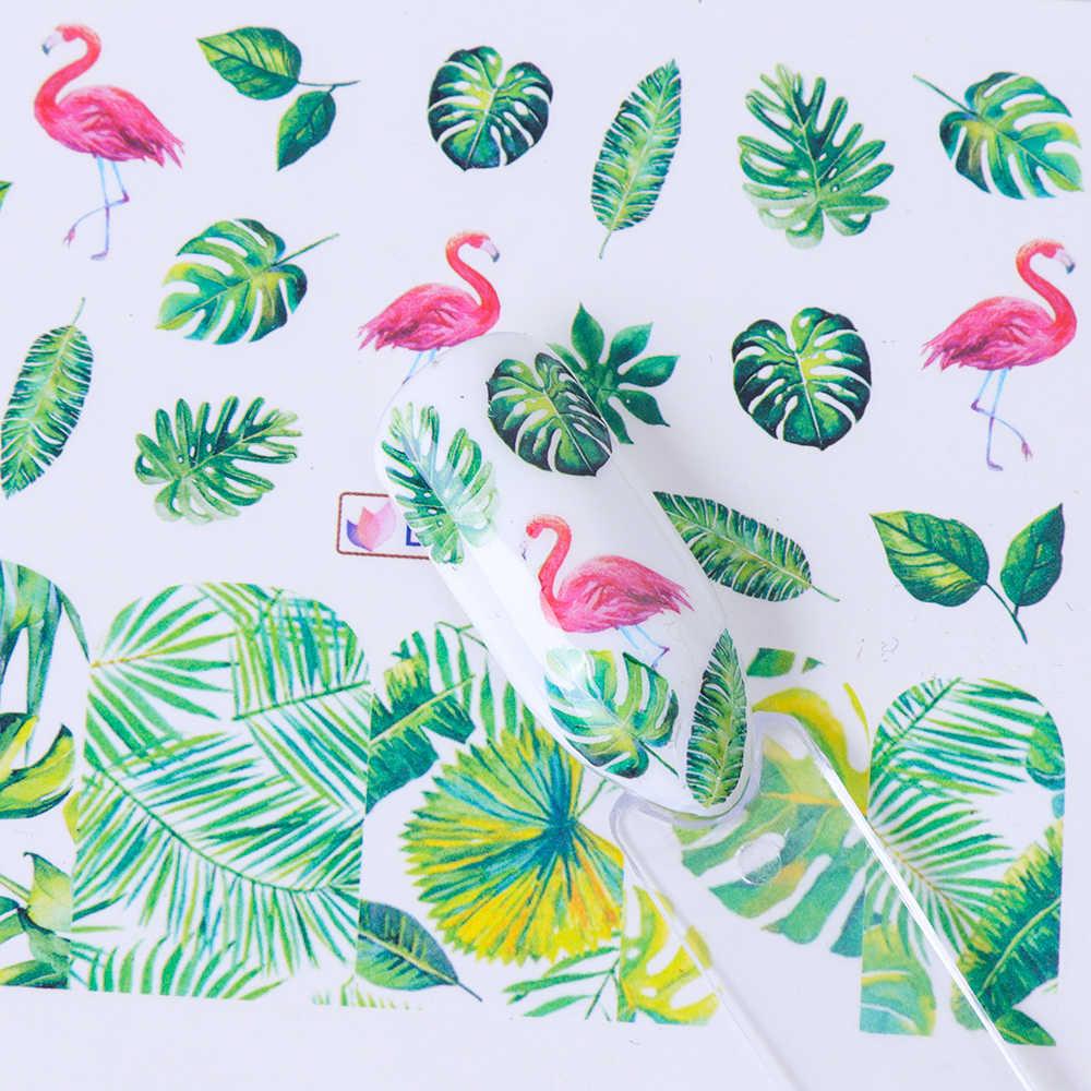 1pcs Water Decals Nail Sticker Blossom Flower Sliders Flamingo Parrot Bird Jungle Wraps Nail Art Decoration Manicure BEBN865-876