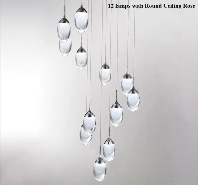 Moderno em forma de Ovo LED Luzes Pingente Moda Espiral CONDUZIU a Lâmpada LEVOU Pingente Luzes Iluminação da Decoração de Casa Escadas luz