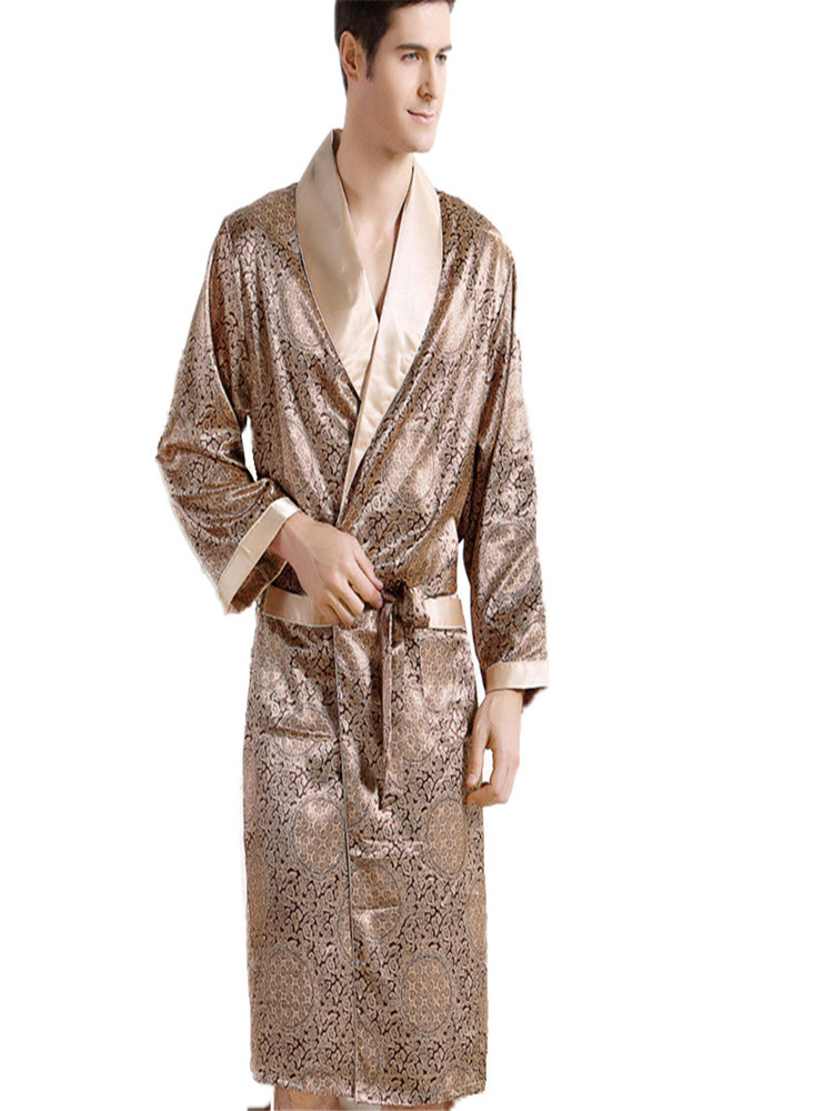 Men Silk long-sleeved Bathrobe Plus Size 3XL kimono Home Bath Gown Male Printed Geometric Robes V-neck Satin Sleepwear Nightgown(China)