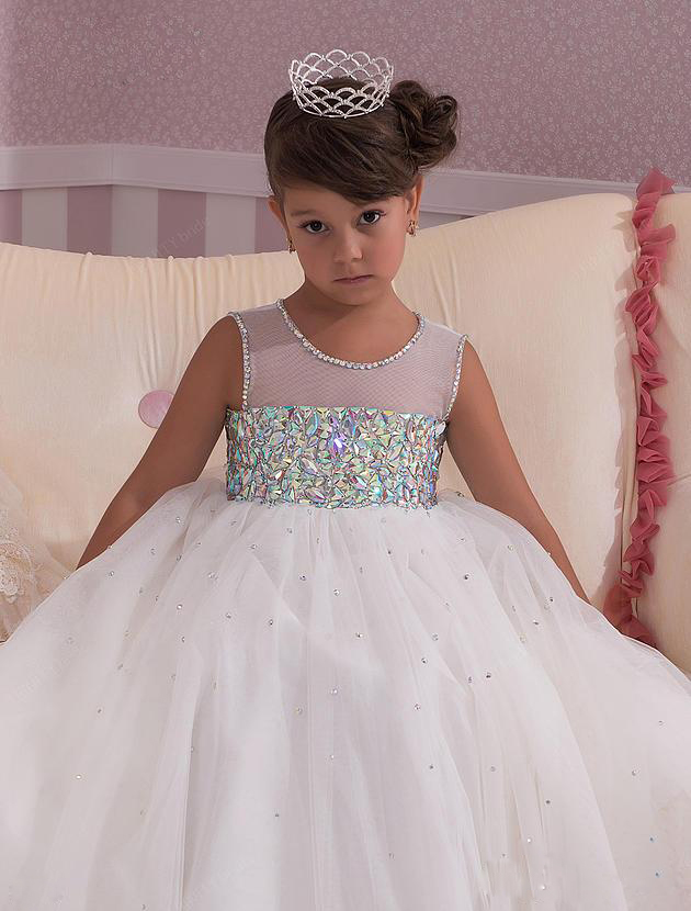 Beautiful Illusion Kids Formal Wedding Party Christening Gown ...