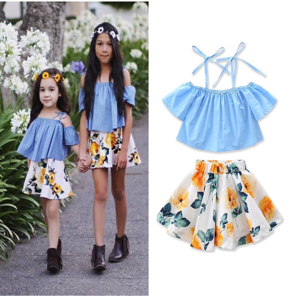 Sky Blue Lace-up Tops+Floral Print Skirts 2pcs Girl Dress Clothing Set 2017 Summer Fashion Baby Girls Clothes Children Dresses