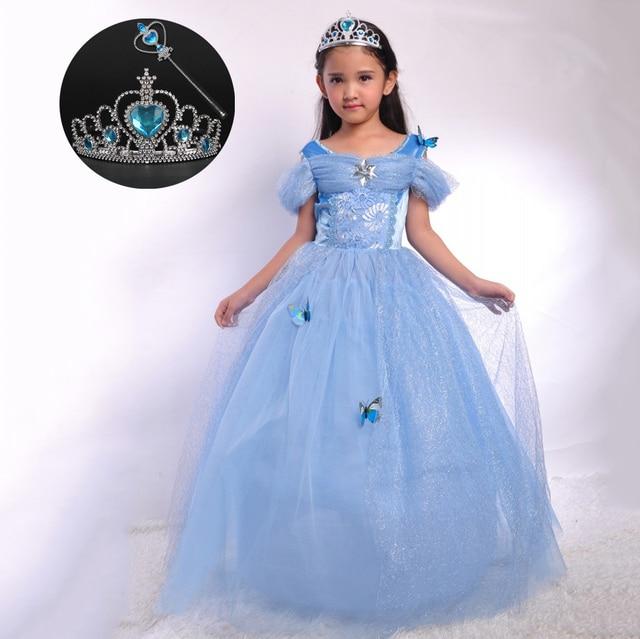 Blue Children Gown Designs Girls Autumn Princess Stage Outfit Cinderella  Wedding Dress Kids Halloween Costumes for Girls 4dcfa70f1bf8