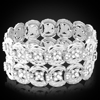 High Quality 18K Real Gold Plated Bracelets Bangles Rhinestone Crystal Jewelry Gift For Men Or Women
