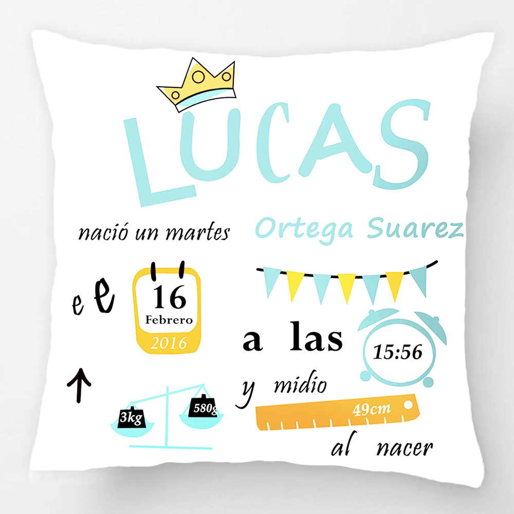 Customized With Birthday Baby Boy Cushion Birth Data Crown Pattern Pillow Decorative Cushion Cover Pillow Case Customize Gift