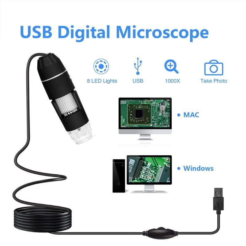 8 1000X Microscópio Digital USB portátil Led para telefone reparação de solda Lupa Microscópio
