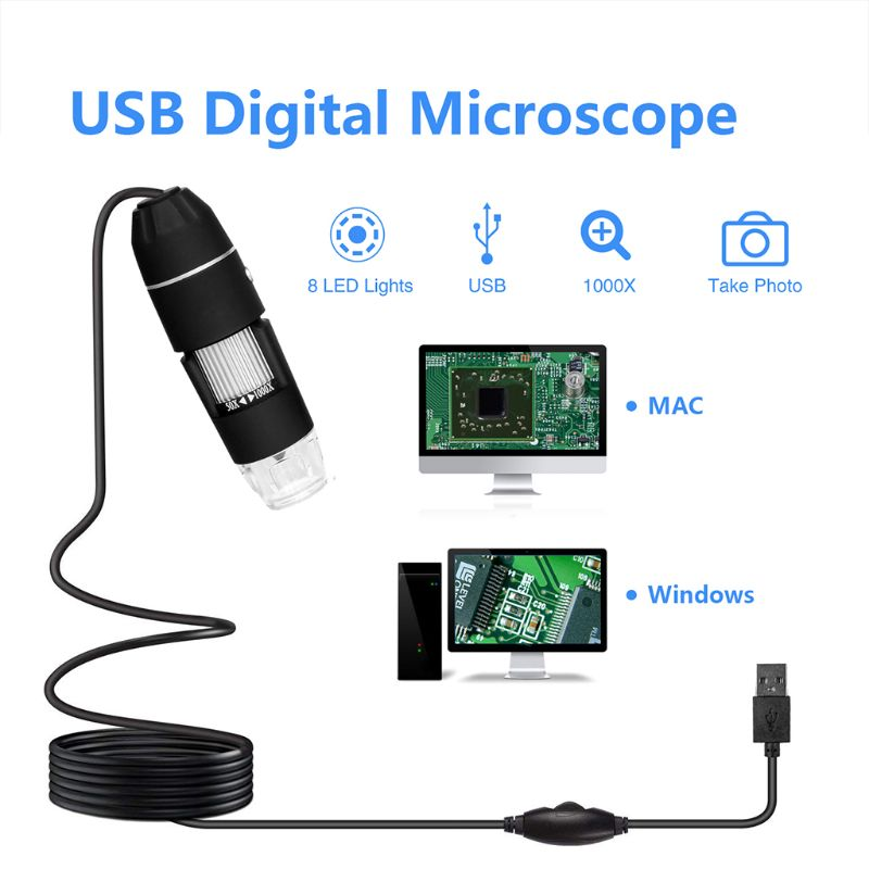 Handheld 1000X Digital USB Microscope 8 Led For Phone Repair Soldering Magnifier Microscopes