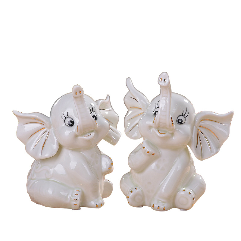 Elephant Statue Simulation Cute Animal Ceramic Crafts Home Accessories Couples Gift L2941Elephant Statue Simulation Cute Animal Ceramic Crafts Home Accessories Couples Gift L2941