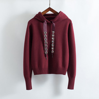 2018 autumn women's sweatshirt casual solid color beaded decorative knit hooded sweatshirt