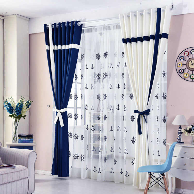 Curtains Tulle for Living Room Dining Bedroom Blackout Solid Color White Blue Hotel Cafe Curtain Yarn Mediterranean Simple Style