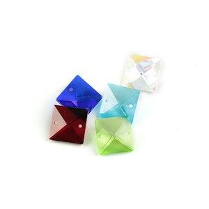 Image 2 - Couleurs 22mm perles carrées en cristal dans 2 trous pour accessoires de décoration de la maison, perles de rideau en cristal, perle de lustre en cristal