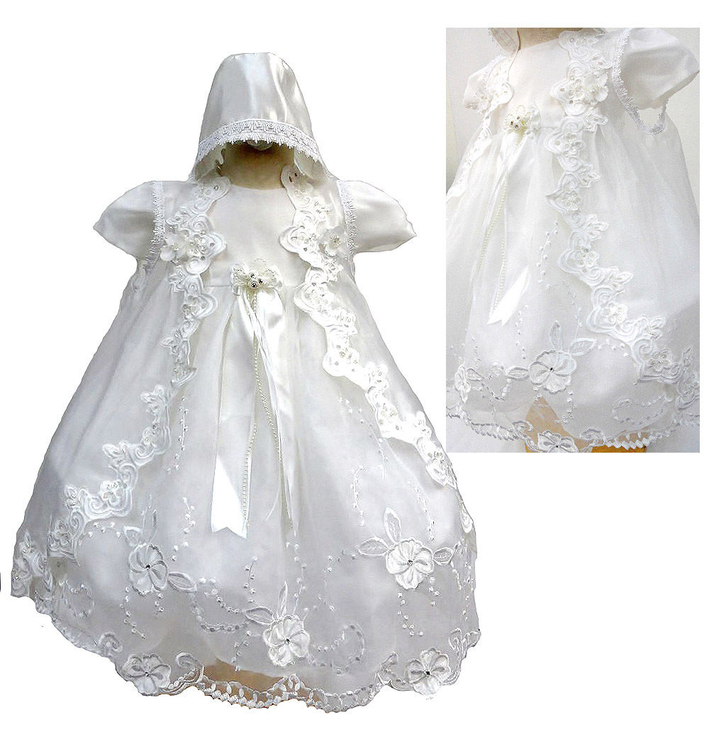 2016 Todder Baby Girl Infant Christening Gowns Baptism Lace Princess Baby Boy First Communion Dresses WITH BONNET 0-24month