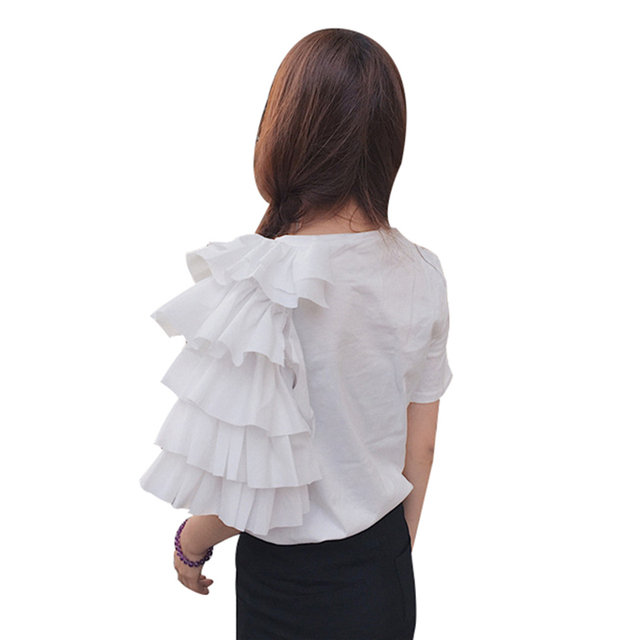 TWOTWINSTYLE Ruffles Print T Shirt Female O Neck Short Sleeve Patchwork T Shirts 2018 Summer Womens Casual Big Size Clothing 4