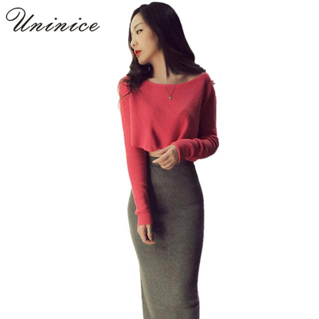 Moda mujeres del otoño juegos de los sistemas 2 unidades falda y camisa graceful mujeres elaestic largo pencil skirt s y camisa corta expuestos ombligo