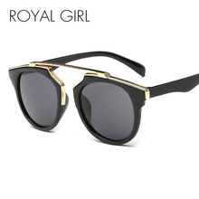 ROYAL GIRL Round Sunglasses Women Brand Designer Flot Top Sun Glasses Female Mirror Shades Oculos Cat