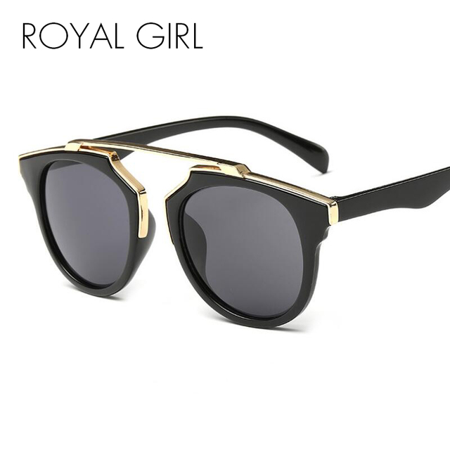 6bf9b659eb ROYAL GIRL Round Sunglasses Women Brand Designer Flot Top Sun Glasses  Female Mirror Shades Oculos Cat Eye Glasses UV400 ss206