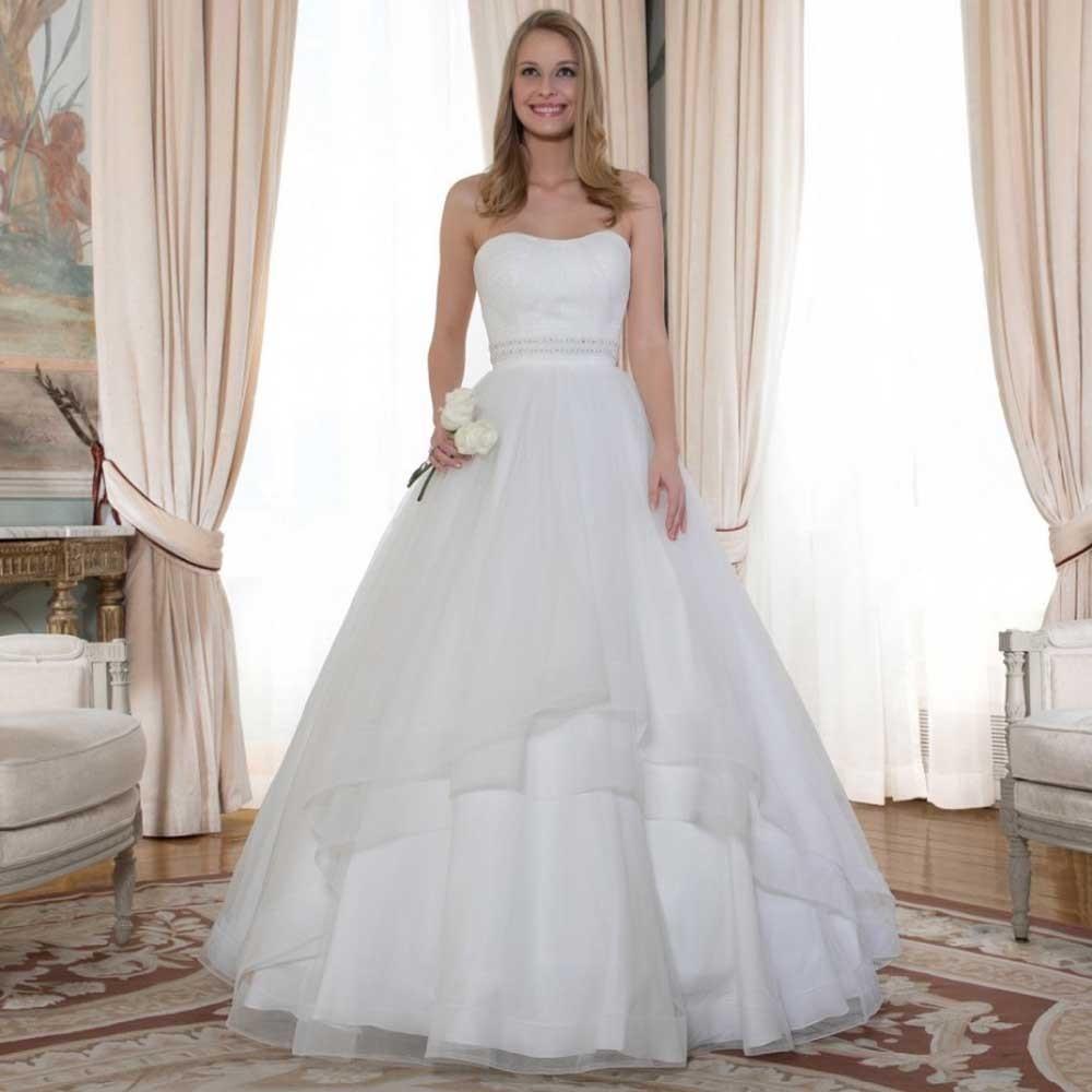 retro vestidos de boda del hombro semi cario vestidos de novia crystal rebordear sash vestido