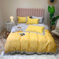 Роскошные постельное белье из ткани тенцель набор маленький белый кролик украшение комплект постельного белья Королева Король Размер прос