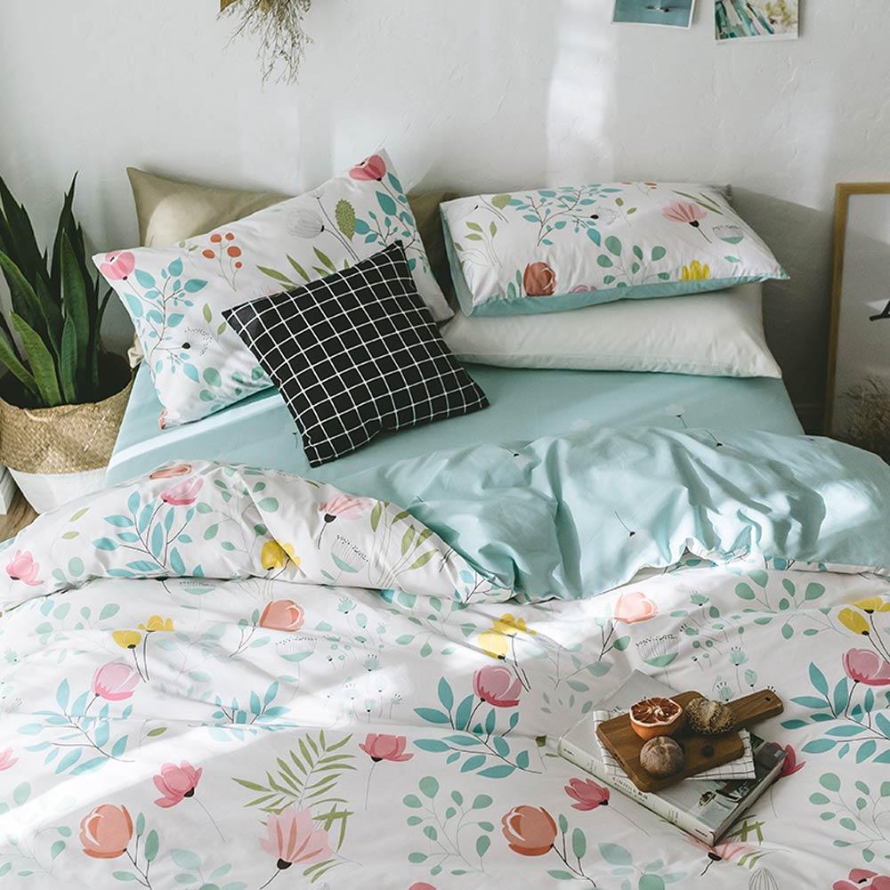 Svetanya ดอกไม้พิมพ์ชุดเครื่องนอนผ้าฝ้าย 100 ผ้าปูที่นอนเดี่ยว Queen King size (ผ้านวมผ้านวม + แผ่น + ปลอกหมอน)-ใน ชุดเครื่องนอน จาก บ้านและสวน บน   2
