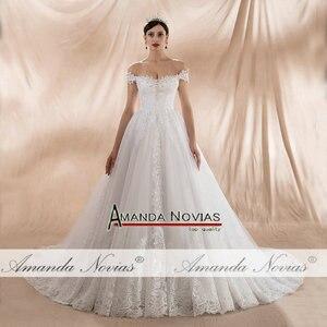 Image 4 - Женское свадебное платье с открытыми плечами, ТРАПЕЦИЕВИДНОЕ ПЛАТЬЕ с лямками, новинка 2020