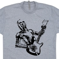 Newest Funny C3PO Guitar T Shirts Bass Amp Electric Yoda Playing Rock Band Acoustic Vintage Mens