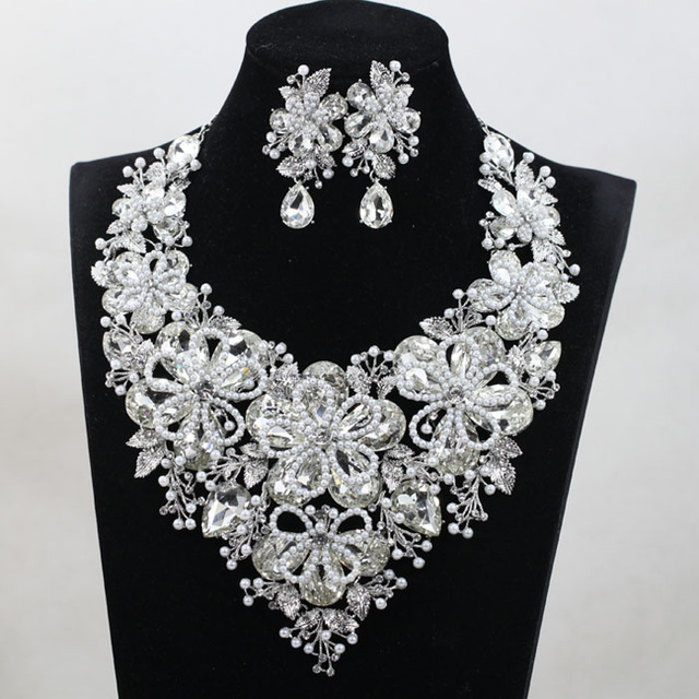 Fashion Jewelry Sets Colorful Crystal Wedding Bridal Indian Jewellery Statement Necklace Earring For Brides QW1098
