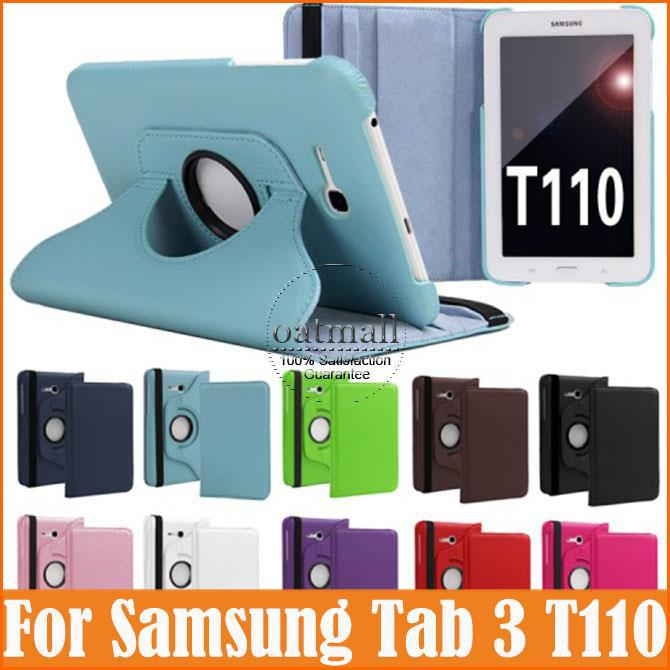 360 Rotating Smart Cover for samsung galaxy tab 3 7.0 lite case sm-t110 t111 PU Leather 7 inch Tablet Stand Folding Folio Cases pu leather case stand cover for samsung galaxy tab a 9 7 sm t550 t555 p550 9 7 360 rotating tablet smart flip cover sm t550