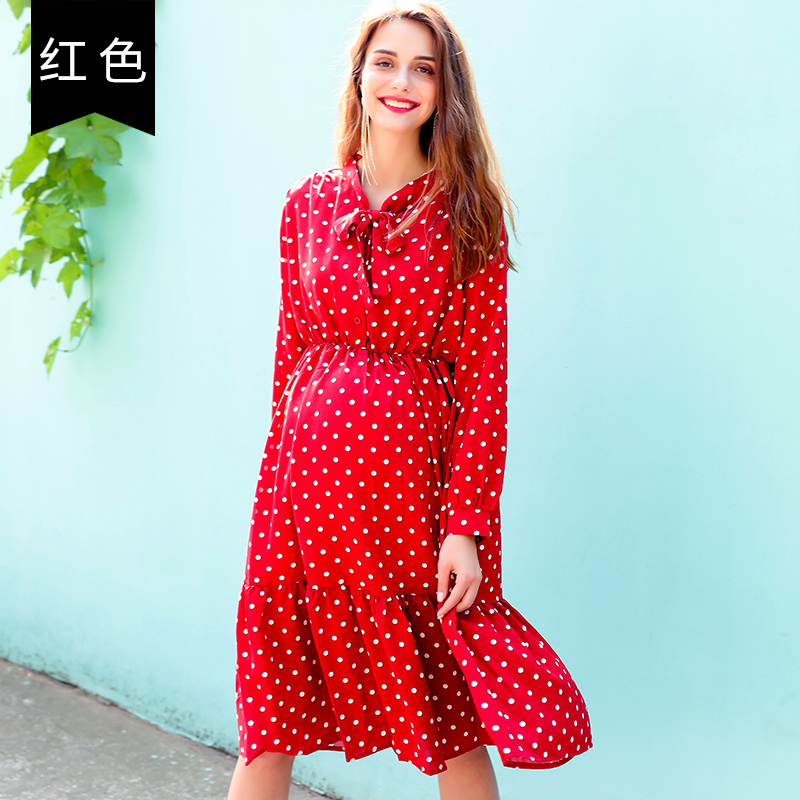 цены на Pregnant women autumn dress fashion models 2018 new pregnancy wave chiffon Korean version of the loose female в интернет-магазинах