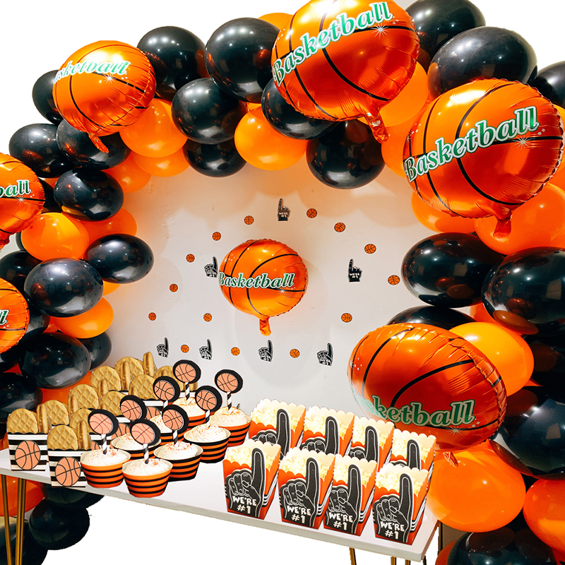140pcs Party Balloon Arch Latex/Foil Balloons Basketball Party Supplies Kit Birthday Party Decorations Kids/Adult/Boys140pcs Party Balloon Arch Latex/Foil Balloons Basketball Party Supplies Kit Birthday Party Decorations Kids/Adult/Boys