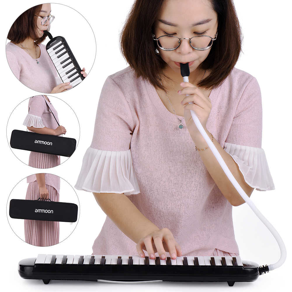 Ammoon 37 מפתחות מלודיקה Pianica פסנתר סגנון מקלדת הפה האיברים עם שופר ניקוי בד מקרה מוסיקלי מתנה