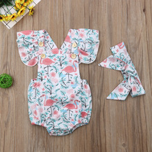 Комбинезон с принтом фламинго для новорожденных девочек; боди; костюм с повязкой на голову