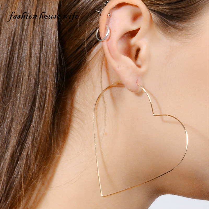 Fashion Gold Silver Color 85mm Star Hoop Earring For Women Exaggerated Large Heart Earrings Statement Party Jewelry Gift Le0196 In From