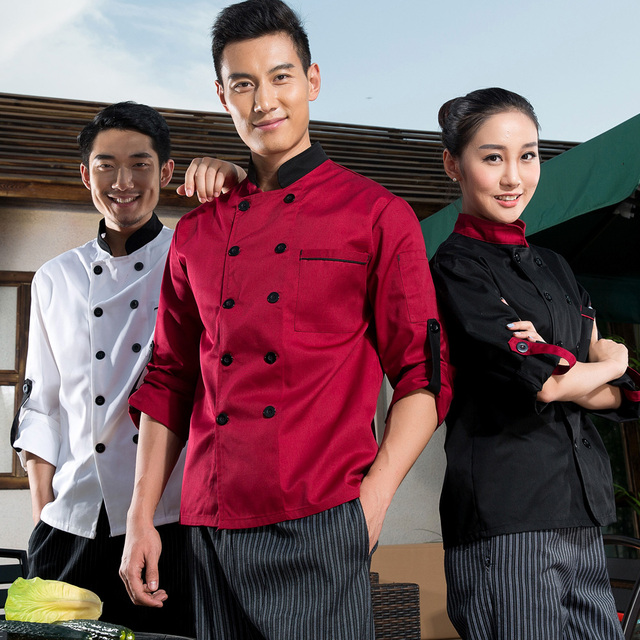 a03982a06 Chef's Long Sleeve Coat Restaurant Hotel Chef Uniform Thick Chef Uniforms